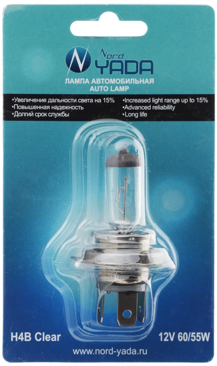 Лампа автомобильная галогенная Nord YADA Clear, цоколь H4B, 12V, 60/55W. 902142 лампа автомобильная галогенная nord yada clear цоколь h3 12v 55w 800004