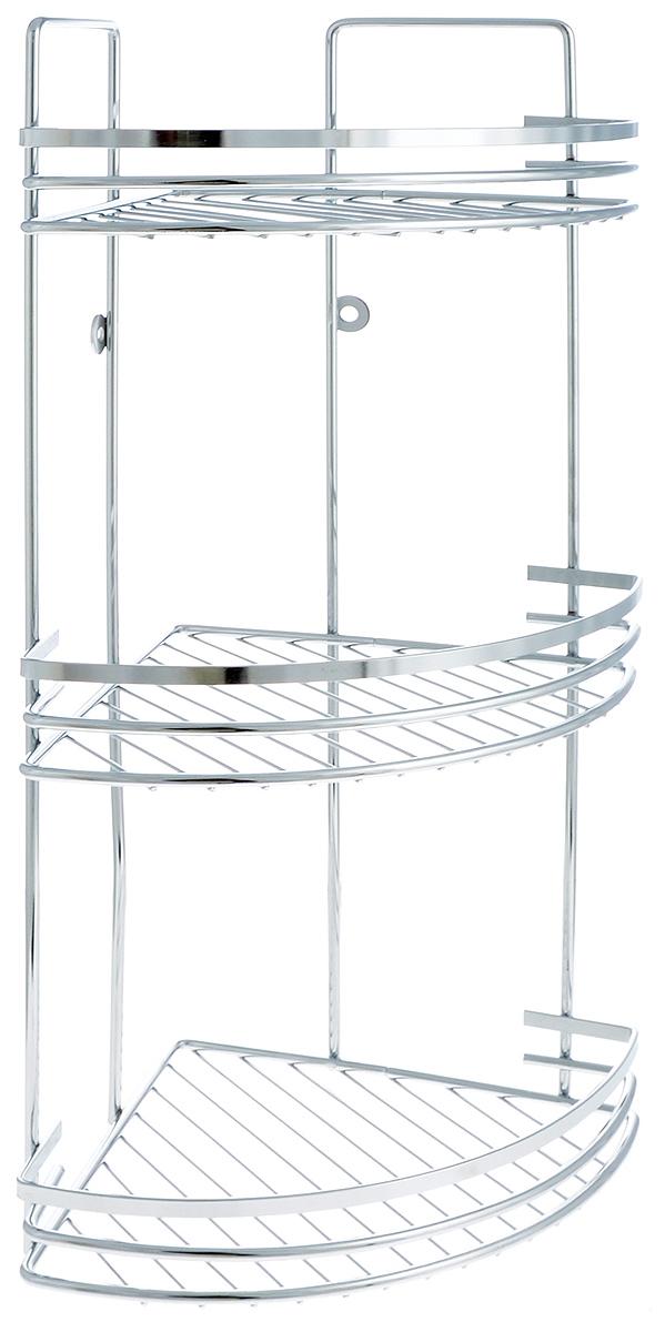 Полка для ванной Mayer & Boch, угловая, 3-ярусная, 19 х 19 х 48 см2660Угловая полка для ванной Mayer & Boch изготовлена из прочного хромированного металла. Изделие имеет 3 полки с сетчатым дном и ажурным бортиком. Полка отлично подойдет для хранения различных ванных принадлежностей. Она впишется практически в любой интерьер ванной и поможет эффективно организовать пространство. Крепления в комплекте.