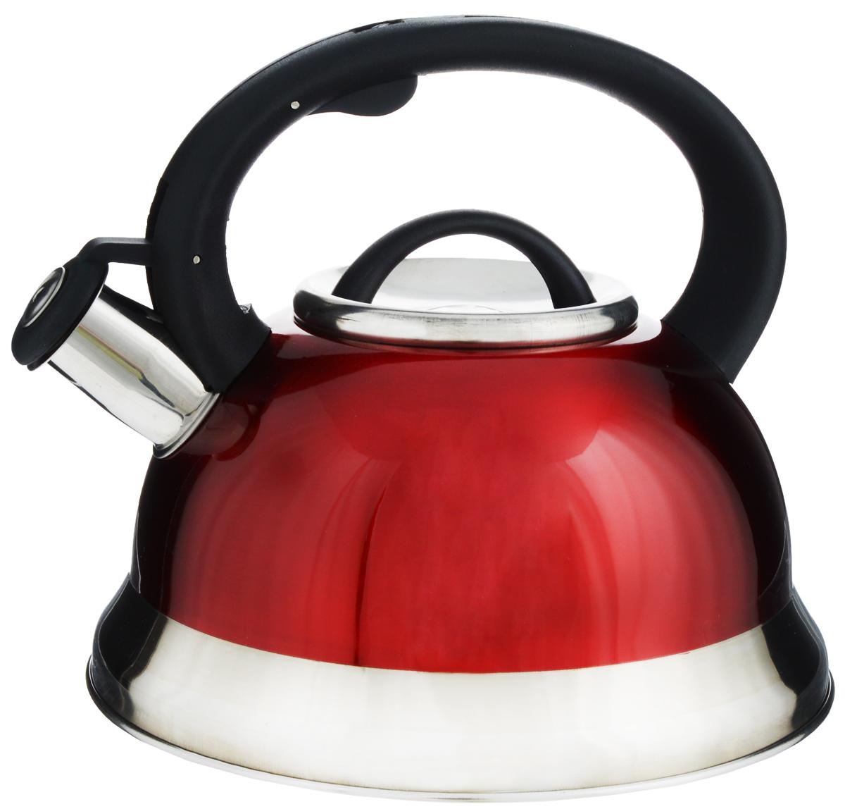 Чайник Mayer & Boch, со свистком, цвет: красный, черный, 3 л. 2574625746Чайник Mayer & Boch выполнен из долговечной и прочной нержавеющей стали, что делает его весьма гигиеничным и устойчивым к износу при длительном использовании. Гладкая и ровная поверхность существенно облегчает уход за посудой. Выполненный из качественных материалов, чайник при кипячении сохраняет все полезные свойства воды. Изделие оснащено свистком, благодаря которому вы можете не беспокоиться о том, что закипевшая вода зальет плиту. Как только вода закипит - свисток оповестит вас об этом. Фиксированная ручка, изготовленная из пластика, делает использование чайника очень удобным и безопасным.Подходит для всех типов плит, кроме индукционных. Можно мыть в посудомоечной машине.Высота чайника (с учетом ручки и крышки): 20 см. Диаметр основания: 22 см.Диаметр (по верхнему краю): 10 см.