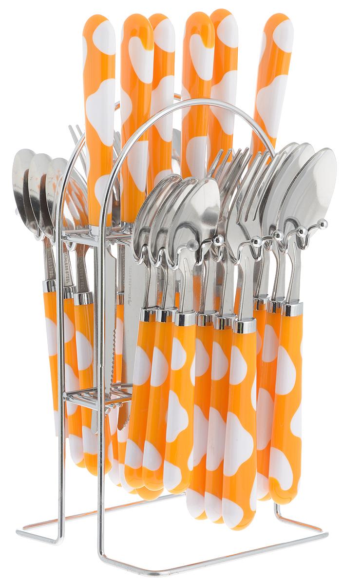 Набор столовых приборов Mayer & Boch, на подставке, цвет: белый, оранжевый, 25 предметов. 2249122491_белый, оранжевыйНабор Mayer & Boch включает в себя 25 предметов: 6 столовых ножей, 6 столовых ложек, 6 столовых вилок, 6 чайных ложек и подставку. Приборы выполнены из прочной нержавеющей стали и пластика. Прекрасное сочетание оригинального дизайна и удобство использования предметов набора придется по душе каждому. Предметы набора расположены на металлической подставке. Набор столовых приборов Mayer & Boch подойдет для сервировки стола как дома, так и на даче и всегда будет важной частью трапезы.Длина столовой ложки: 20,5 см. Длина вилки: 20,5 см. Длина ножа: 22 см. Длина чайной ложки: 17 см. Размер подставки: 13,5 х 12 х 24 см.