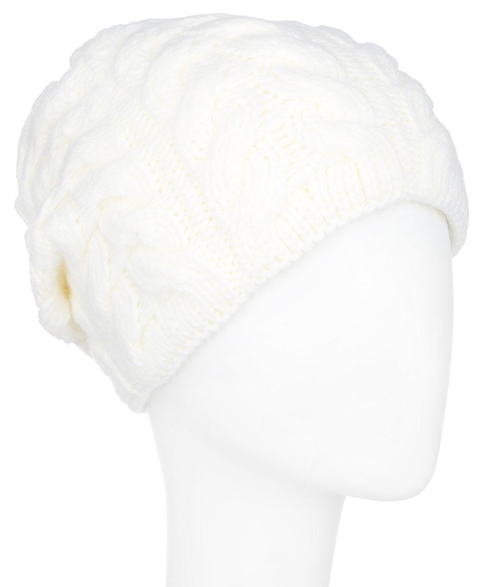 Шапка женская Finn Flare, цвет: молочный. A16-12140_711. Размер 56A16-12140_711Стильная женская шапка Finn Flare дополнит ваш наряд и не позволит вам замерзнуть в холодное время года. Шапка выполнена из высококачественной пряжи, что позволяет ей великолепно сохранять тепло и обеспечивает высокую эластичность и удобство посадки. Модель оформлена оригинальным узором и металлической эмблемой с логотипом производителя. Такая шапка станет модным и стильным дополнением вашего гардероба. Она согреет вас и позволит подчеркнуть свою индивидуальность!