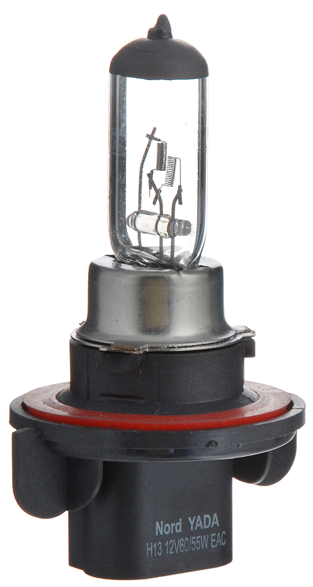 Лампа автомобильная галогенная Nord YADA Clear, цоколь H13, 12V, 60/55W лампа автомобильная галогенная nord yada clear цоколь h3 12v 55w 800004
