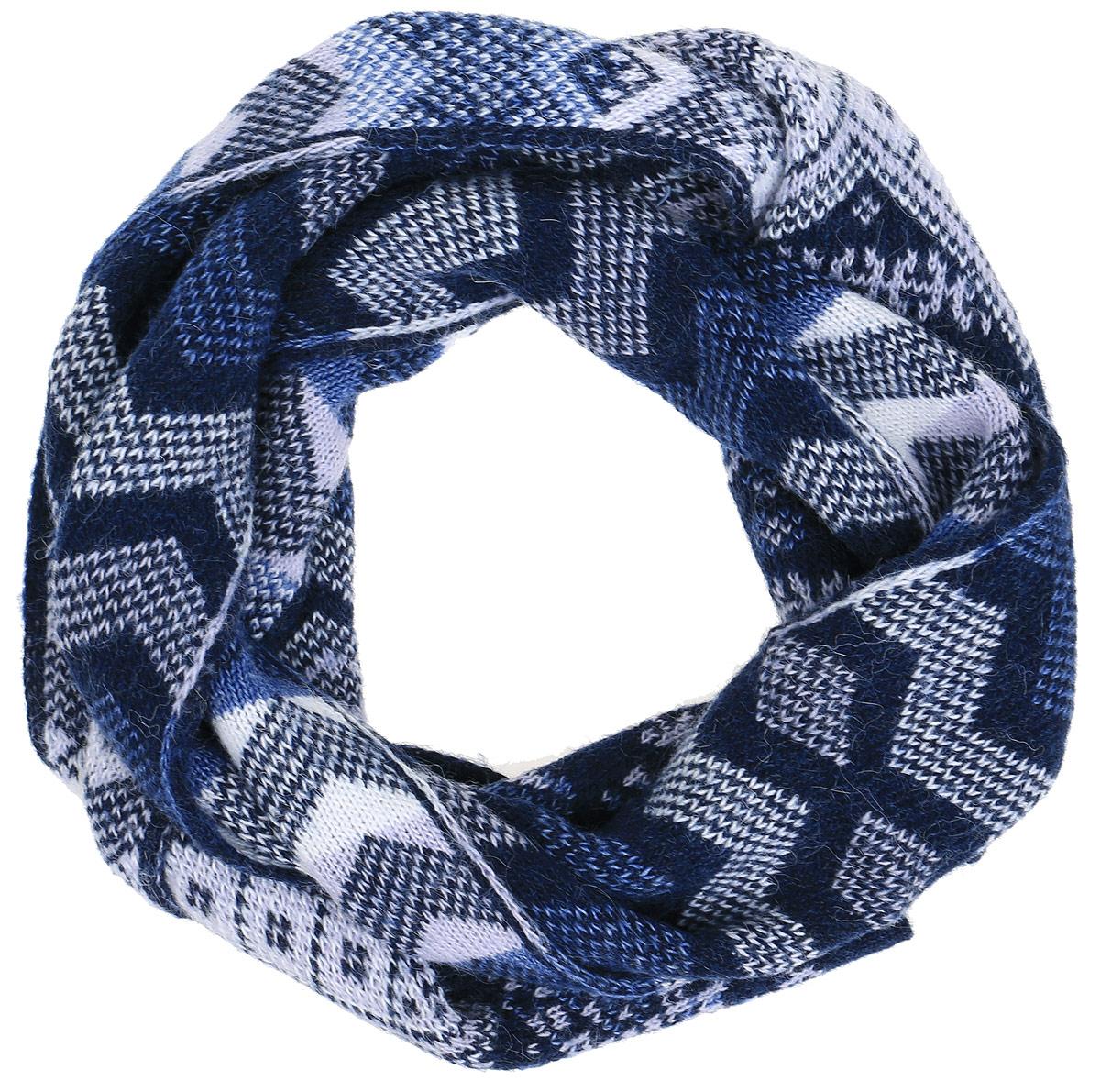 Шарф женский Finn Flare, цвет: темно-синий, сиреневый, белый. A16-12137_101. Размер 164 см х 22 смA16-12137_101Женский шарф Finn Flare станет отличным дополнением к вашему гардеробу в холодную погоду. Шарф, выполненный из шерсти с добавлением акрила, очень мягкий, теплый и приятный на ощупь. Модель оформлена вязаным орнаментом.Современный дизайн и расцветка делают этот шарф модным и стильным женским аксессуаром. Он подарит вам ощущение тепла, комфорта и уюта.