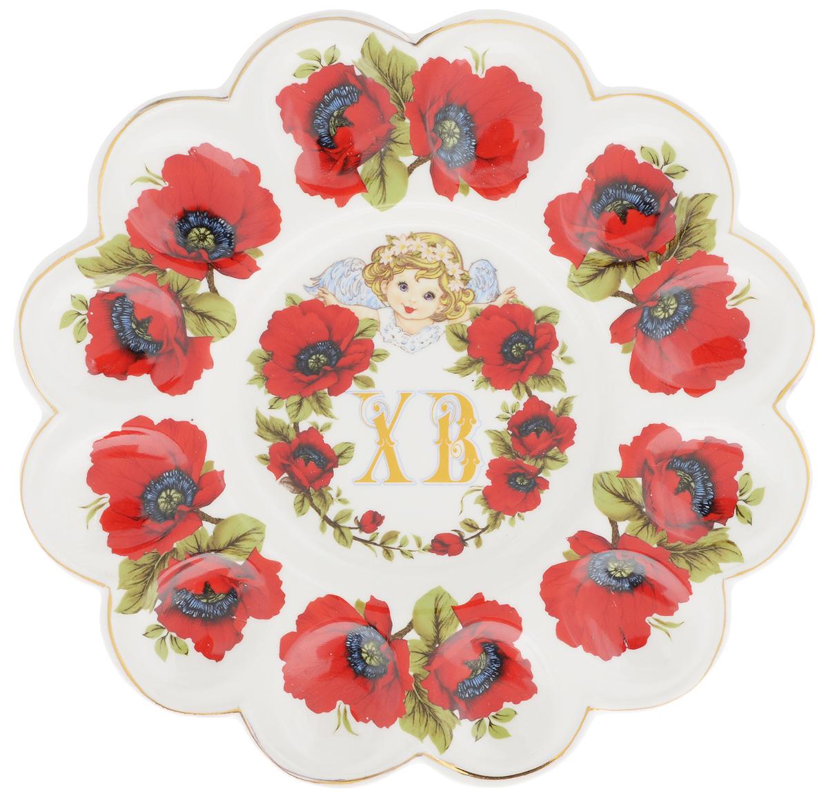Тарелка для фаршированных яиц Elan Gallery ХВ. Маки, диаметр 24 см