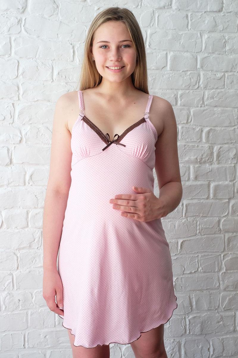 Сорочка для беременных и кормящих Hunny Mammy, цвет: розовый, коричневый. 1-НМП 12501. Размер 481-НМП 12501Удобная трикотажная ночная сорочка для беременных и кормящих Hunny Mammy изготовлена из высококачественного хлопкового. Сорочка с лифом и отделкой кружевом, застежка-клипса