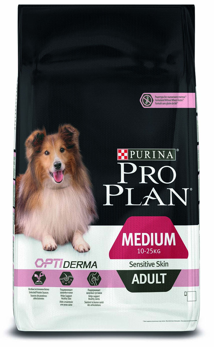 Корм сухой Pro Plan Adult Sensitive, для собак с чувствительным пищеварением и кожей, с лососем и рисом, 14 кг12272438Сухой корм Pro Plan Adult Sensitive - полнорационный корм для взрослых собак средних пород с чувствительным пищеварением и кожей, весом 10-25 кг, с комплексом Optiderma, с лососем и рисом. Также подходит для взрослых собак крупных пород с чувствительным пищеварением. Корм обеспечивает самое своевременное питание, которое поддерживает чувствительную кожу взрослых собак. Подтверждено, что Optiderma включает в себя специальную комбинацию питательных веществ, которые поддерживают здоровье кожи и красивую шерсть, а отобранные источники белка помогают сократить возможные кожные реакции, связанные с пищевой чувствительностью. Особенности: - специально отобранные источники белка для собак с чувствительной кожей,- клинически подтверждено: поддерживает здоровье кожи,- сочетание основных питательных веществ, которое помогает поддерживать здоровье суставов, - содержит высококачественный белок из лосося.Состав: лосось1 (14%), рис1 (14%), кукуруза1, сухой белок лосося1, кукурузный глютен1, кукурузная крупа1, продукты переработки растительного сырья1, животный жир, вкусоароматическая кормовая добавка, сухая мякоть свеклы1, яичный порошок1, кукурузный крахмал, минеральные вещества, целлюлоза, рыбий жир, сушеный корень цикория, соевое масло, витамины, антиоксиданты. Товар сертифицирован.