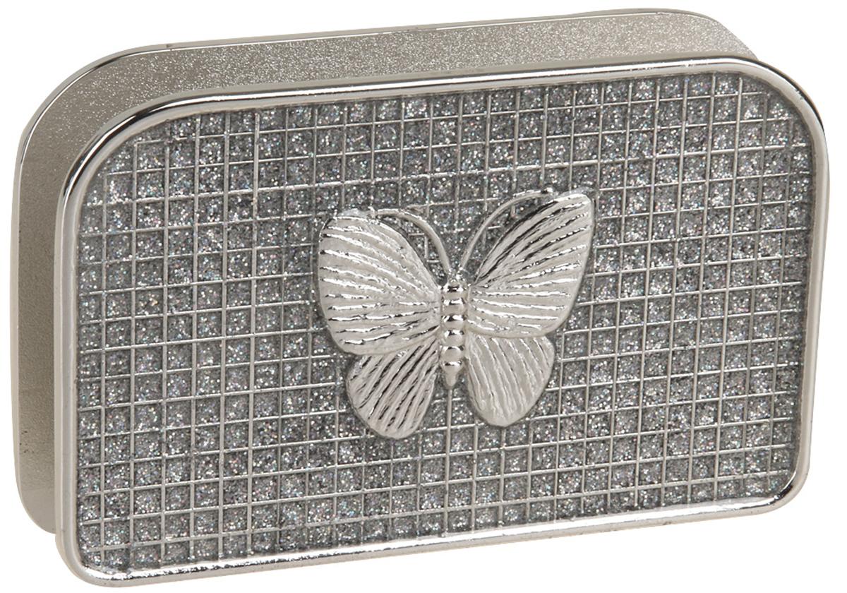 Салфетница Rosenberg, 12.5 х 8 х 2.8 см. 412377.858@22617Стильная салфетница Rosenberg выполнена из качественного материала - никелированной стали, силумина с покрытием из серебра. Ее дизайн дополненный симпатичной бабочкой. Такая салфетница украсит любую праздничную сервировку стола и привлечет внимание гостей.