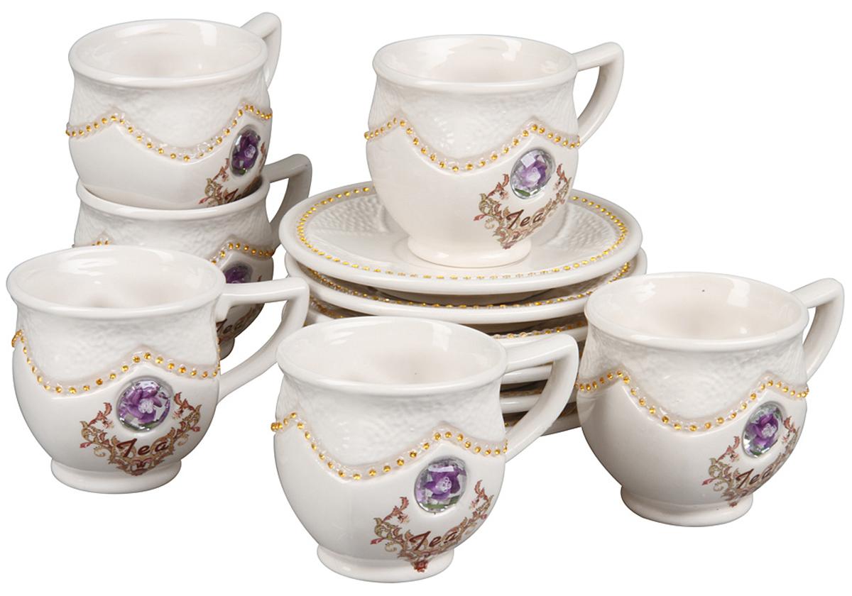 чайный набор, 12 предметов, чашка 200 мл, блюдце 14 х 14 см