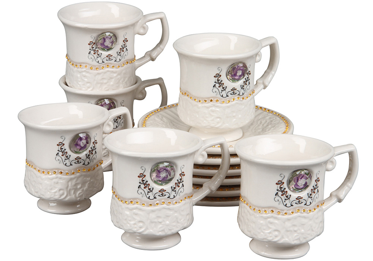 чайный набор, 12 предметов, чашка 170мл, блюдце 14 х 14 см