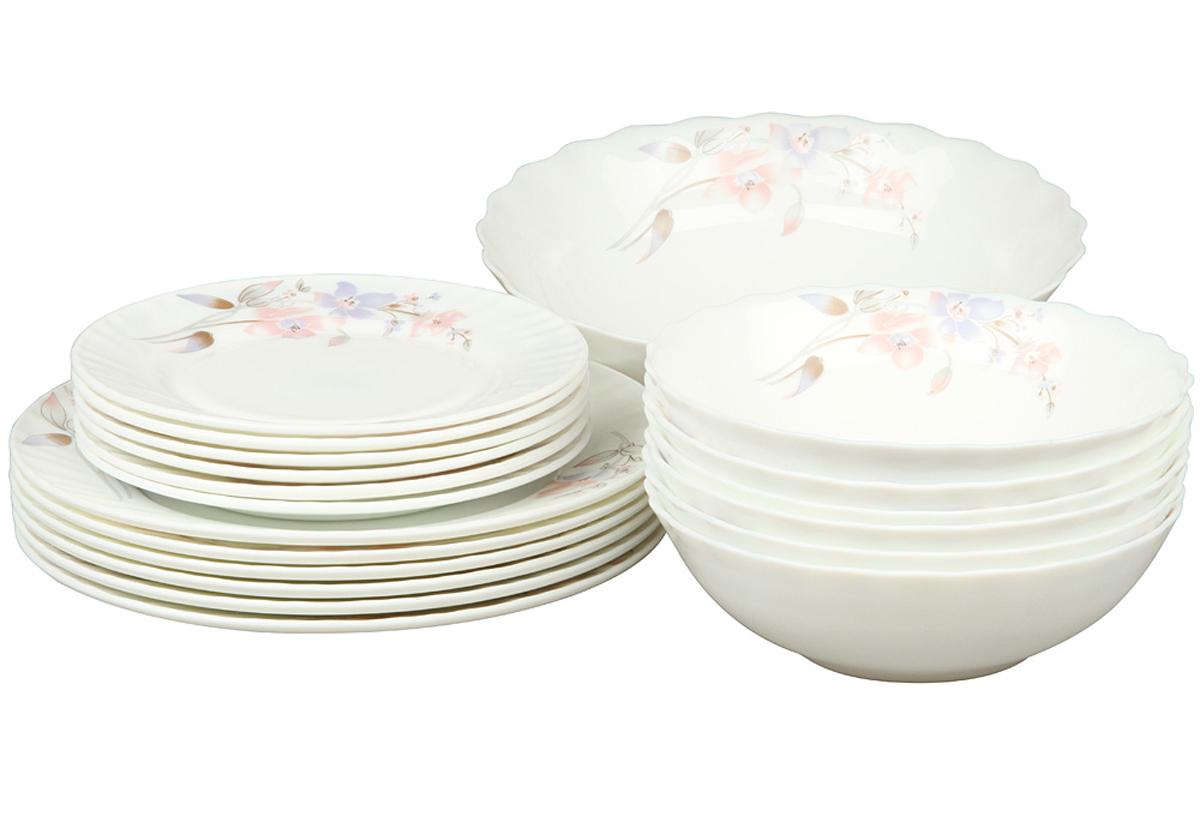Набор столовой посуды Rosenberg 19 предметов 1260-477.858@23043набор столовой посуды 19 предметов, ударопрочное стекло, 6 шт суповых тарелок - 18см, 6 шт плоских тарелок - 23см, 6 шт плоских тарелок - 18см, 1 шт салатник - 23см