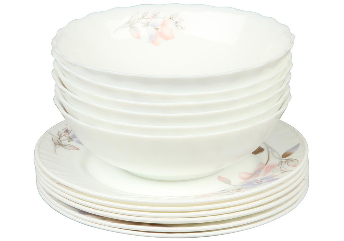 Набор тарелок Rosenberg, 12 предметов. 1261-477.858@23045Набор тарелок Rosenberg состоит из 6 суповых тарелок и 6 плоских тарелок, выполненных из ударопрочного стекла. Изделия дополнены цветочным рисунком. Диаметр суповых тарелок: 18 см.Диаметр плоских тарелок: 20 см.