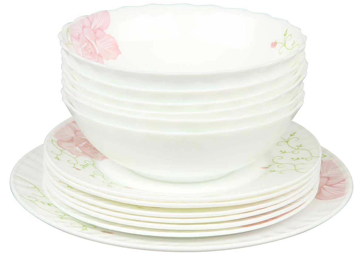 Набор столовой посуды Rosenberg 13 предметов 1262-277.858@23048набор столовой посуды 13 предметов, ударопрочное стекло, 6 шт салатников 18см, 6 шт плоских тарелок 20см, плоское блюдо - 25см (1шт)