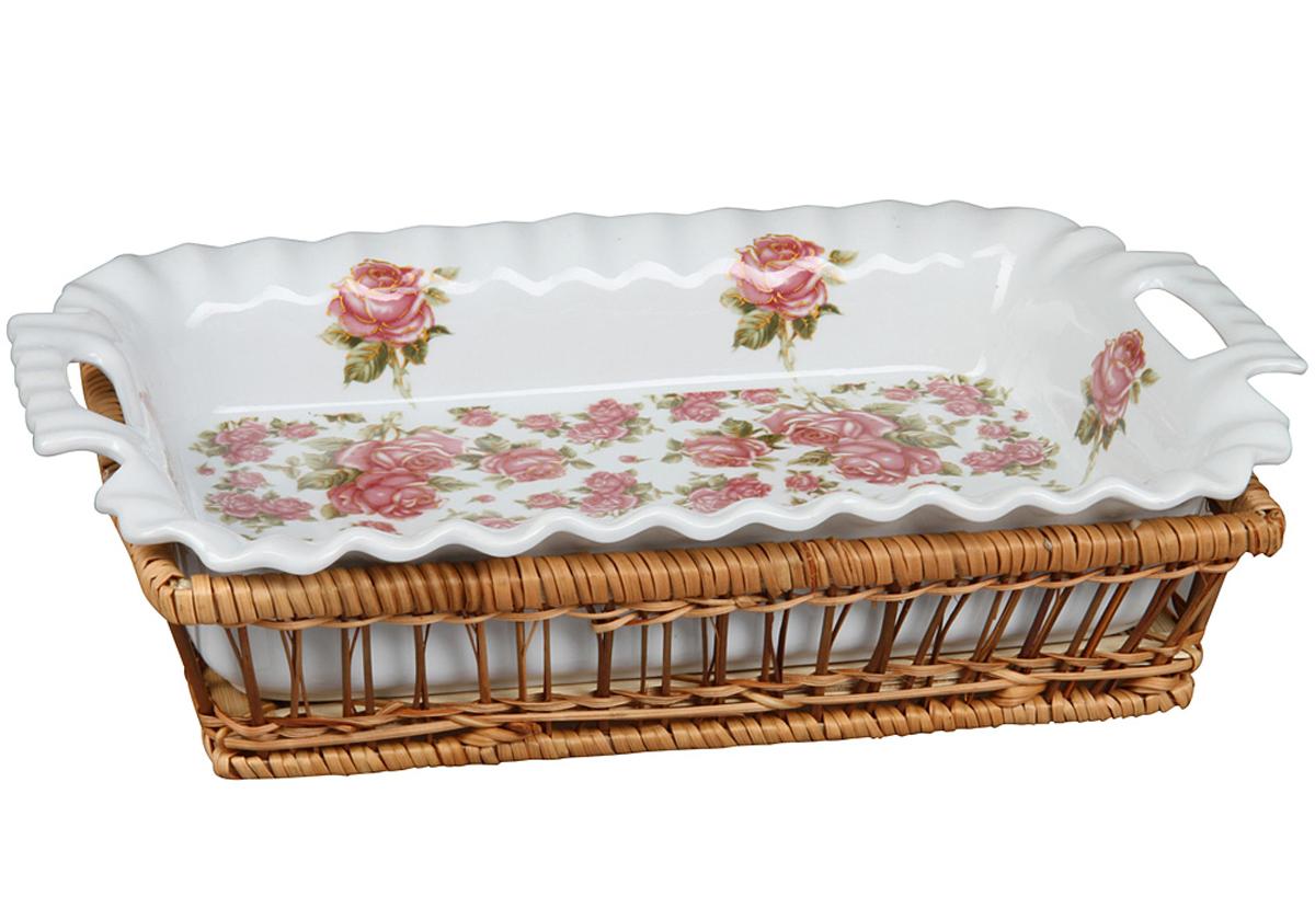 Форма для горячего Rosenberg, корейская роза. 9063-KR77.858@23110форма для горячего, размеры 36.8 х 23.5 х 7.5 см