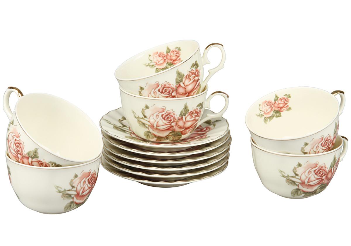 Чайный набор Rosenberg, 12 предметов, 250мл. 872877.858@23712чайный набор 12 предметов, 250мл керамика, размеры: чашка 250мл, блюдце 14 х 14 см