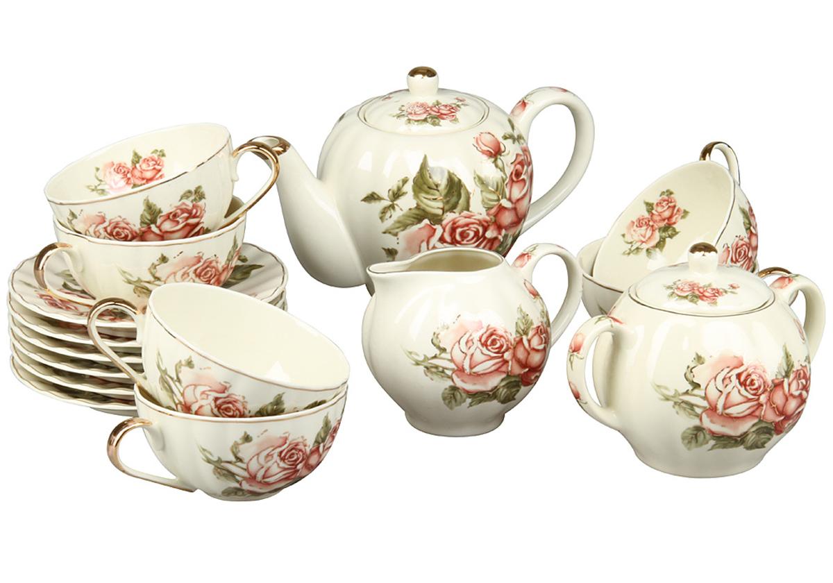 Чайный набор Rosenberg, 15 предметов. 872977.858@23713чайный набор 15 предметов керамика, размеры: чайник 800мл, чашка 180мл, блюдце 14 х 14 см, сахарница 350г, молочник 300мл