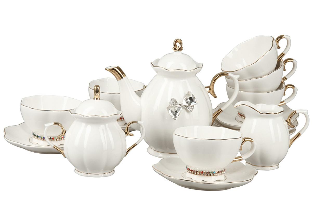 Чайный набор Rosenberg, 15 предметов. RCE-115001-1577.858@24555Чайный набор Rosenberg 15 предметов станет прекрасным укарашением Вашего стола и создаст атмосферу комфорта и уюта. В набор входит: 6 чашек (200мл) с блюдцами, чайник (1000мл), молочник (200мл), сахарница (300г).