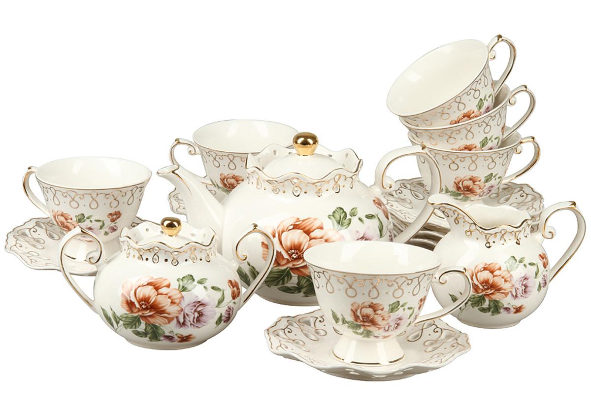 Чайный набор Rosenberg, 15 предметов. RCE-115004-1577.858@24558Чайный набор Rosenberg 15 предметов станет прекрасным укарашением Вашего стола и создаст атмосферу комфорта и уюта. В набор входит: 6 чашек (175мл) с блюдцами, чайник (1000мл), молочник (300мл),сахарница (350мл)