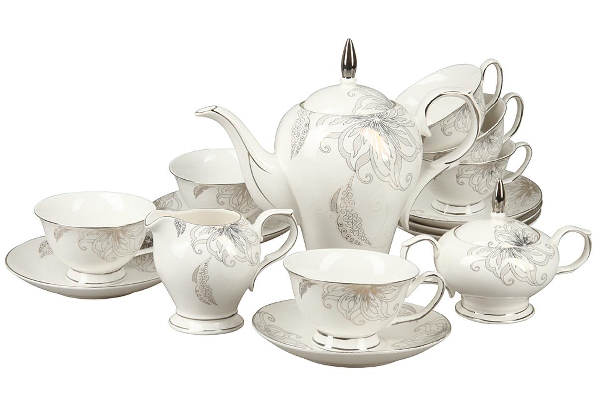 Чайный набор Rosenberg, 15 предметов. RCE-115006-1577.858@24560Чайный набор Rosenberg 15 предметов станет прекрасным укарашением Вашего стола и создаст атмосферу комфорта и уюта. В набор входит: 6 чашек (150мл) с блюдцами, чайник (1000мл), молочник (250мл), сахарница (200г).