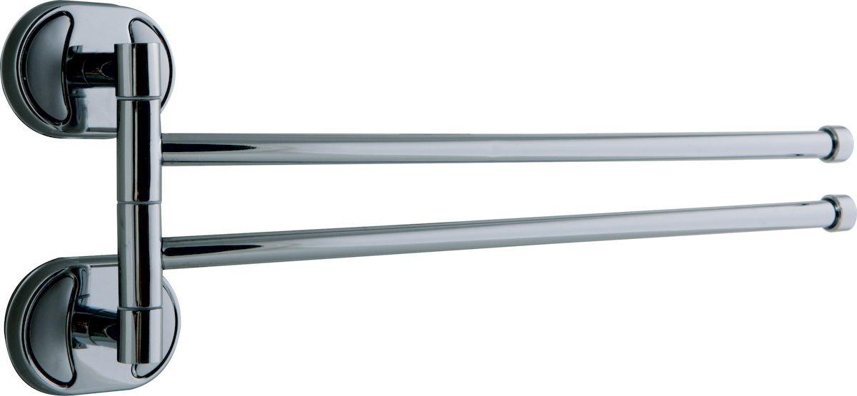Держатель для полотенец РМС, поворотный, двойной, цвет: хром, длина 15 см. А1024А1024Держатель для полотенец поворотный двойной, крепление к стене, хромированный