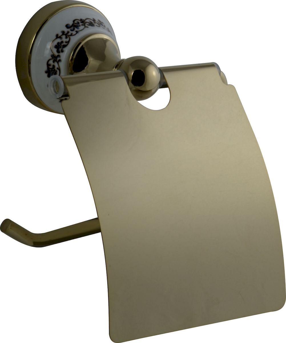 Держатель для туалетной бумаги РМС, с крышкой, цвет: золото. А3030А3030Держатель для туалетной бумаги с крышкой, крепление к стене, золотой цвет