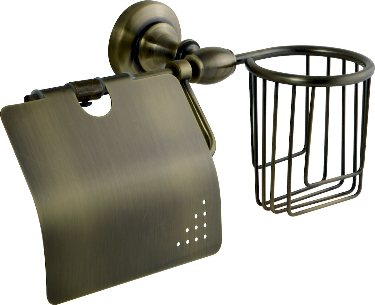 Держатель для туалетной бумаги и освежителя РМС, цвет: бронза. А4010А4010Держатель для туалетной бумаги с крышкой и освежителя, крепление к стене, бронзовый цвет