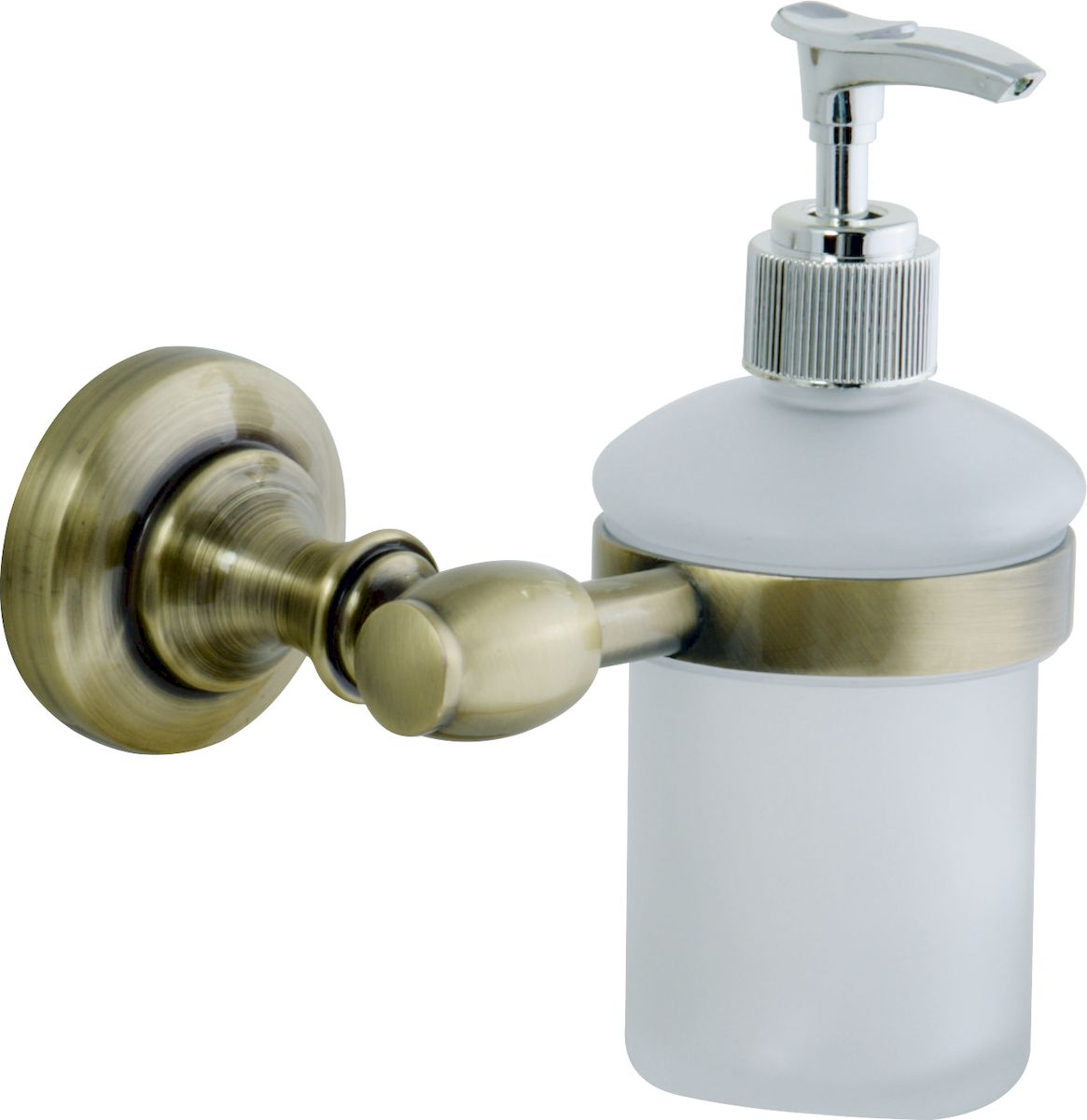 Дозатор жидкого мыла РМС, цвет: бронза. А6018А6018Дозатор жидкого мыла, крепление к стене, бронзовый цвет