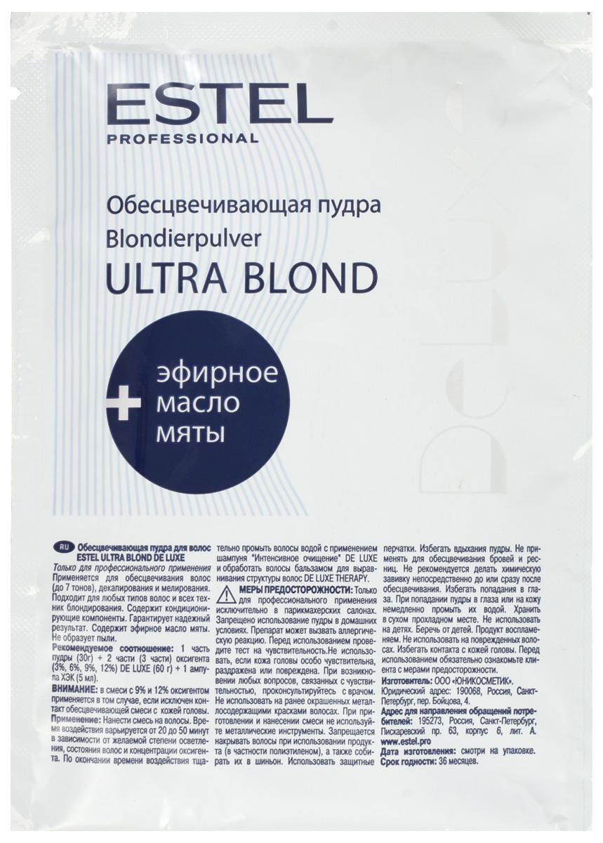 Estel De Luxe Ultra Blond De Luxe - Пудра обесцвечивающая30 гDL/P30Микрогранулированная обесцвечивающая пудра Ультра Блонд Де Люкс от Эстель применяется для осветления волос (до 7 тонов), декапирования, мелирования. Средство не образует пыли и имеет приятный запах. Бисаболол, входящий в состав пудры, оказывает противовоспалительное и антисептическое воздействие на кожу головы. Применение: 30 г пудры смешать с 60 г оксигента и 5 мл ампулой ХЭК в неметаллической посуде. Нанести на волосы на 20-50 минут в зависимости от желаемой степени осветления. Тщательно промыть водой и вымыть волосы шампунем, а затем обработать бальзамом-стабилизатором цвета. Объем: 30 мл