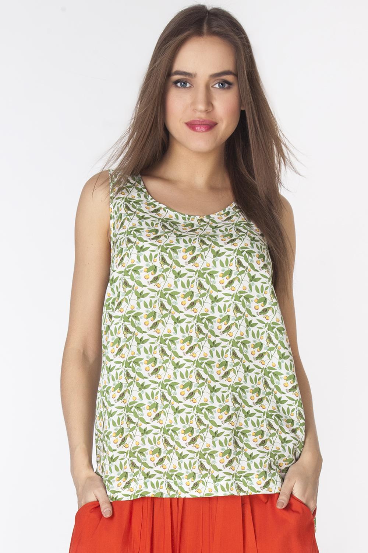 Блузка женская Vis-A-Vis, цвет: зеленый, белый. L3216. Размер M (46)L3216Стильная блузка без рукавов и с круглым вырезом горловины выполнена из 100% района. Модель полуприлегающего силуэта с небольшими разрезами по бокам.