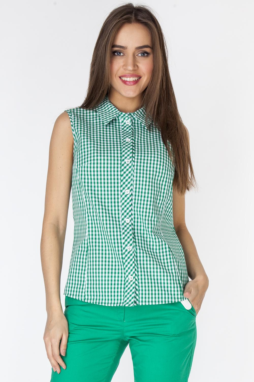 Блузка женская Vis-A-Vis, цвет: зеленый. L3251. Размер M (46)L3251Блузка прилегающего силуэта выполнена из натурального хлопка. Модель без рукавов с отложным воротником застегивается на пуговицы спереди.