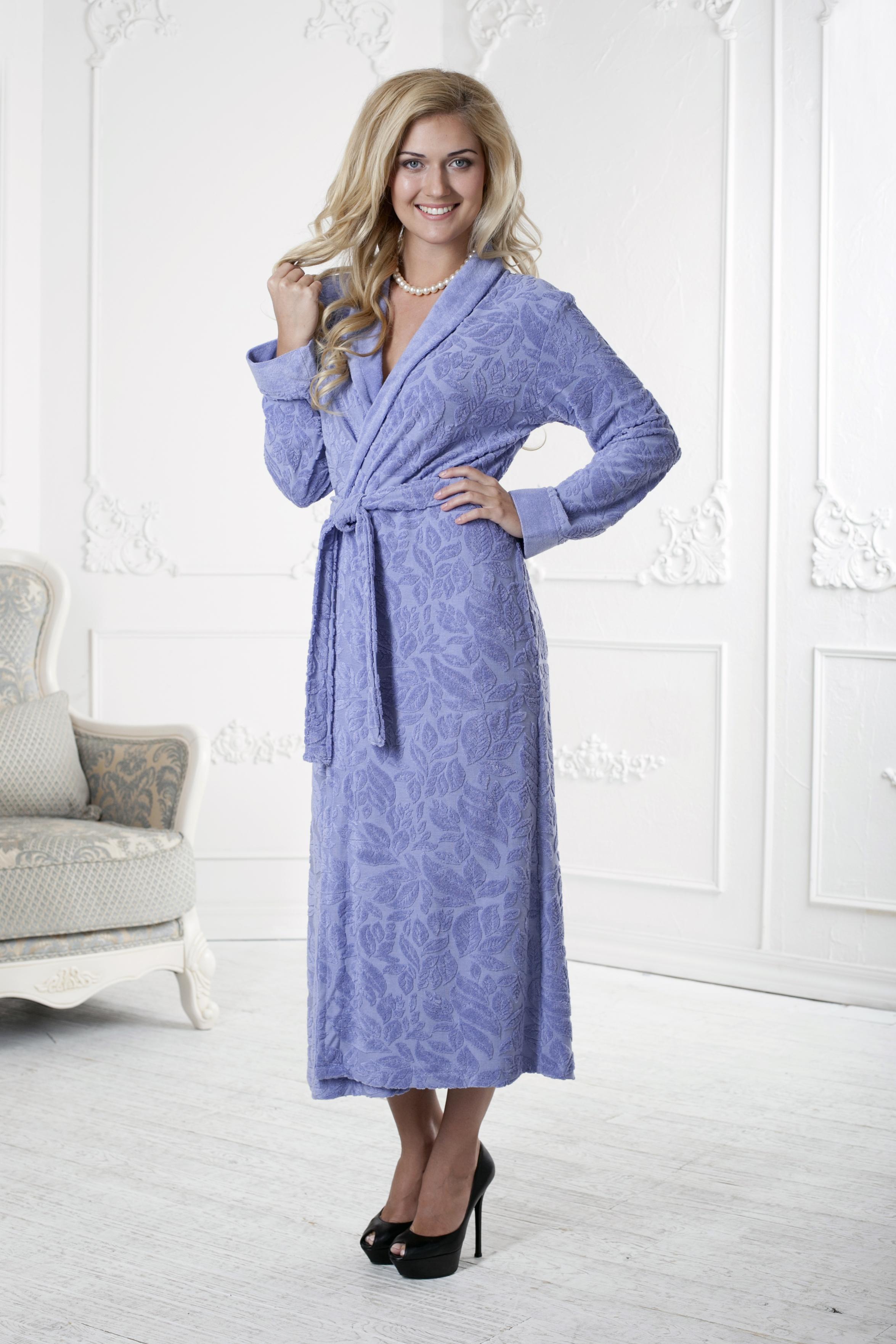 Халат женский Five Wien Home, цвет: фиолетовый. 411. Размер L/XL (48/52)411Очень мягкий и приятный женский халат из трикотажного бамбука. Очень элегантная и женственная модель. Объемная текстура по всему халату.