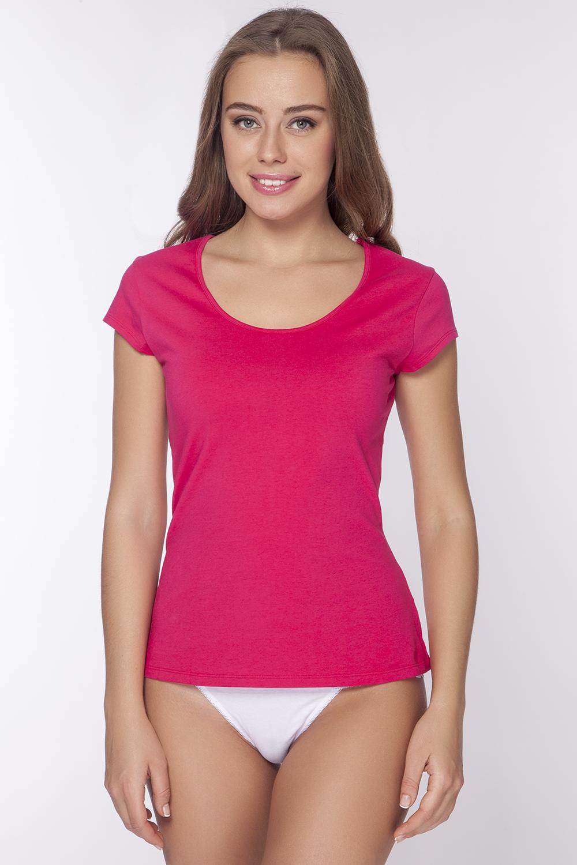 Футболка женская Vis-A-Vis, цвет: розовый. LF1012. Размер XS (42)LF1012Стильная футболка с глубоким вырезом горловины и оригинальным мини - рукавом. Максимальный комфорт и функциональность. Изделие выполнено из мягкого эластичного хлопка.