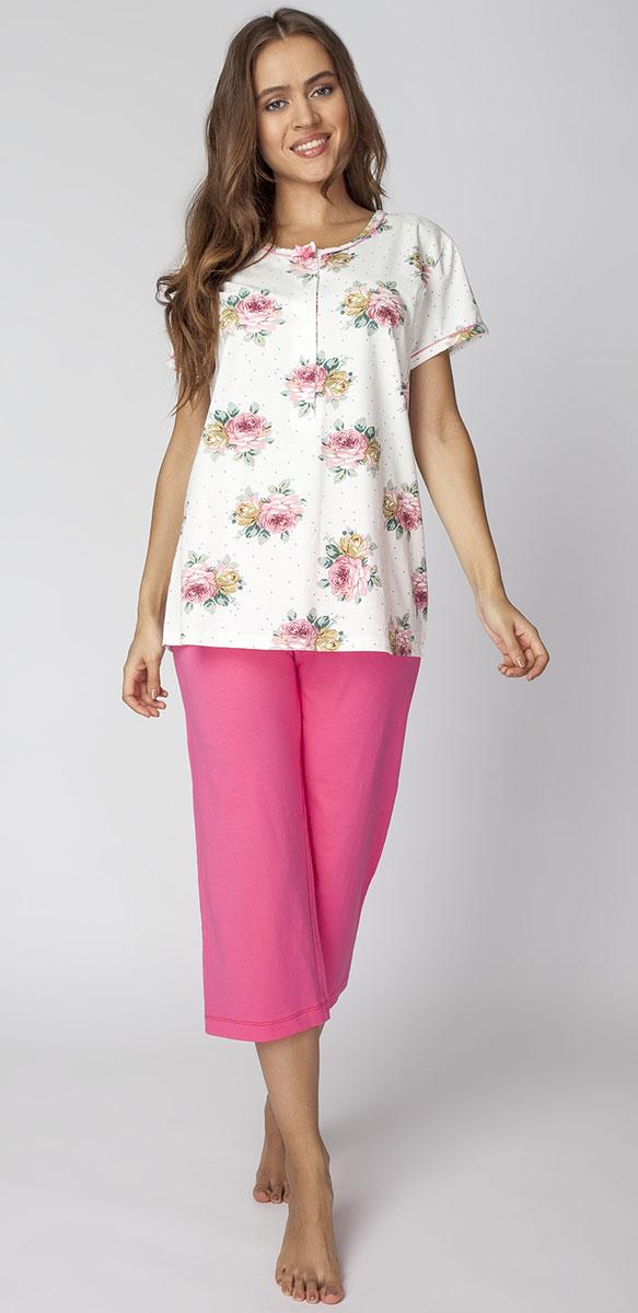 Костюм домашний женский Vis-A-Vis, цвет: розовый. LPC2065B. Размер XL (50)LPC2065BЖенственный элегантный комплект, состоящий из бридж и туники свободного прямого кроя. Бриджи прямого кроя. Туника декорирована крупными цветами.