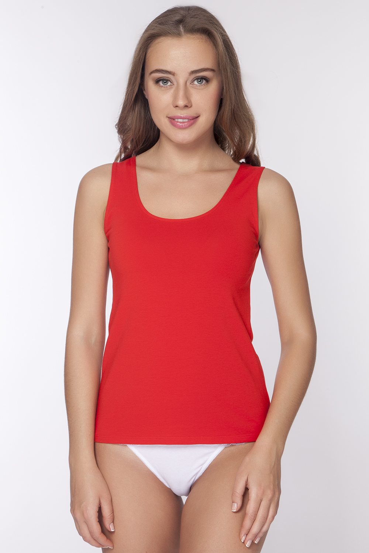 Майка женская Vis-A-Vis, цвет: красный. LM1006. Размер S (44)LM1006Однотонная майка с круглым вырезом горловины выполнена из натурального хлопка.
