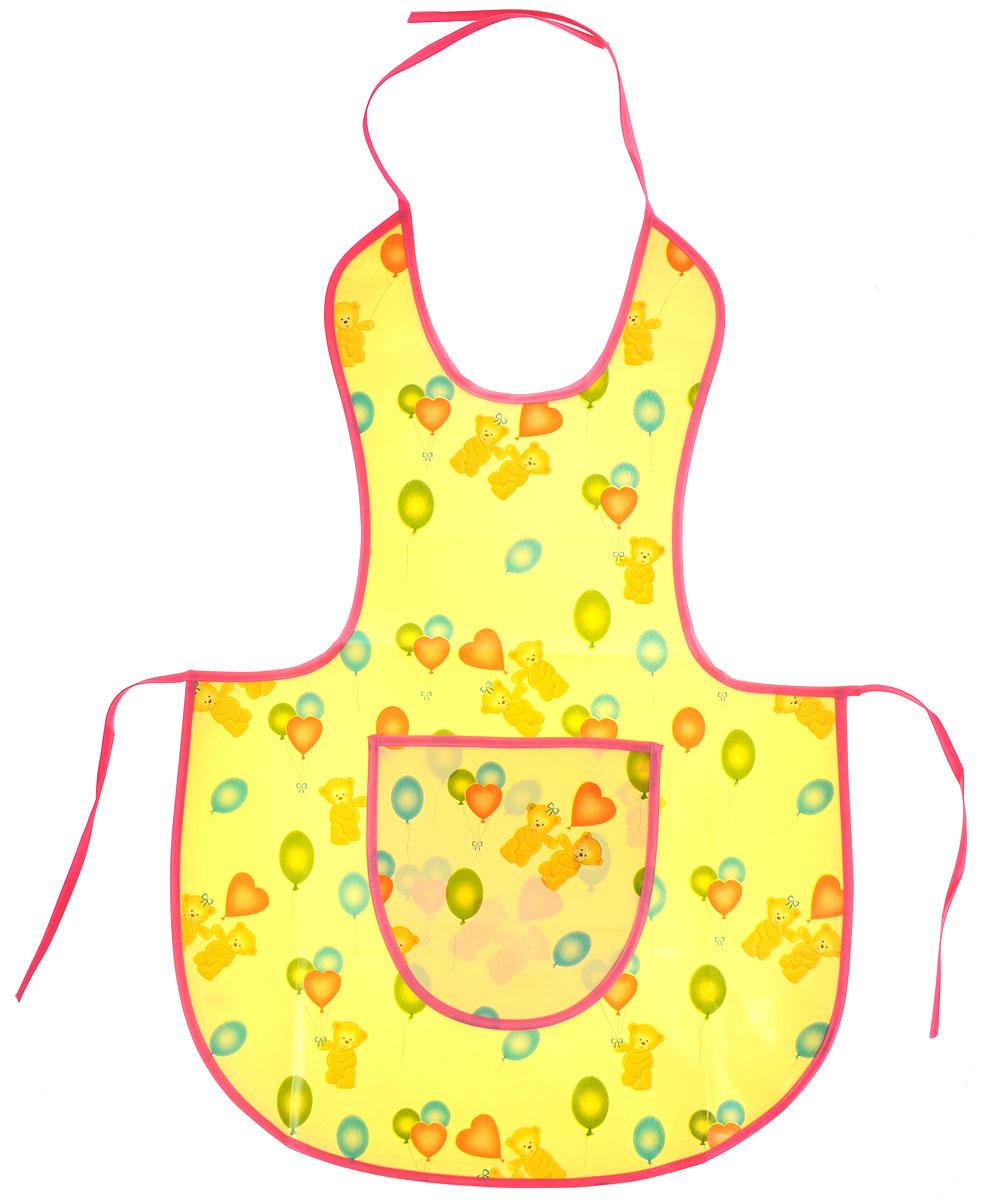 Колорит Фартук защитный для творчества цвет желтый розовый0070_желтый, розовыйЗащитный фартук для творчества Колорит предназначен для защиты одежды ребенка при рисовании красками, лепке из пластилина и других творческих занятиях на улице и дома. Фартук защитный изготовлен из клеенки подкладной с ПВХ покрытием, рекомендованной к медицинскому применению. Тканая основа фартука и тонкий слой ПВХ-покрытия снаружи обеспечивают воздухопроницаемость изделия. Шелковые завязочки для регулировки фартука по размеру не раздражают нежную кожу ребенка. Удобный, практичный и прочный фартук не промокает, легко моется и быстро сушится.Материал: клеенка, ПВХ.