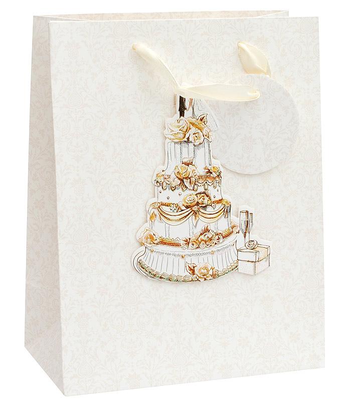 Пакет подарочный Белоснежка Свадебный торт, 18 х 23 х 10 см пакет подарочный белоснежка мужские аксессуары 14 х 7 х 17 см
