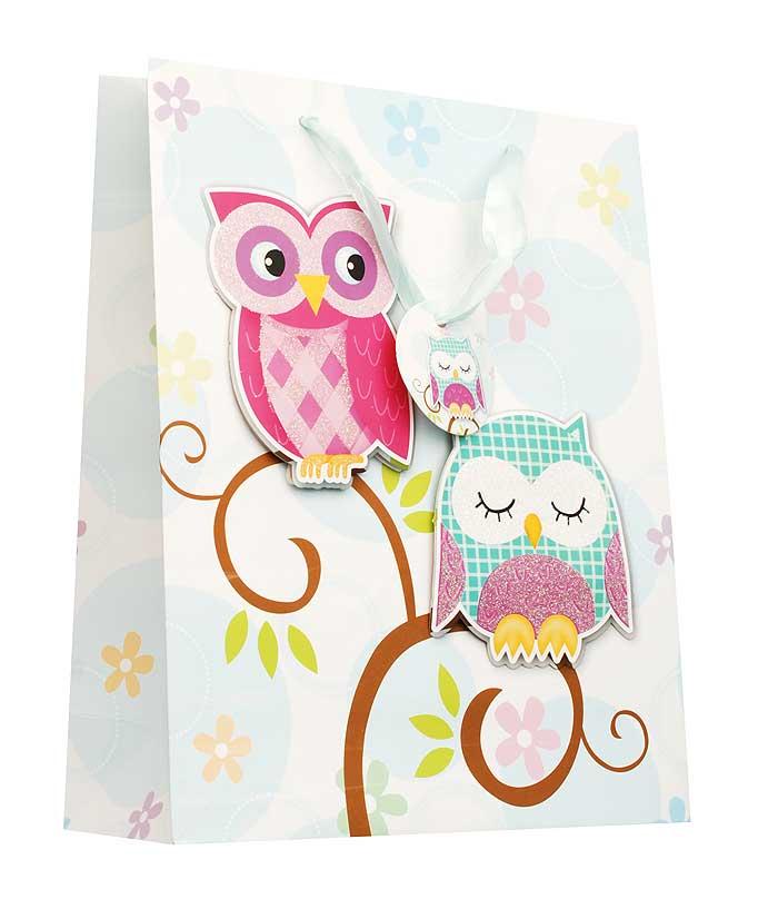 Пакет подарочный Белоснежка Совушки, 18 х 24 х 8 см1408-SBПодарочный пакет Совушки выполнен из качественной плотной бумаги с хорошей печатью, объемные элементы на пакете придают дополнительный яркий акцент.