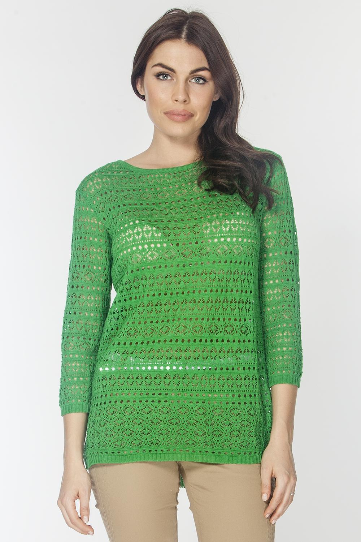 Джемпер женский Vis-A-Vis, цвет: зеленый. VIS-0263. Размер M (46)VIS-0263Элегантный однотонный ажурный джемпер свободного силуэта выполнен из хлопка с добавлением акрила. Модель с рукавами 7/8 и округлым вырезом горловины.