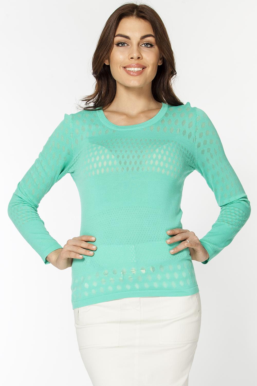 Джемпер женский Vis-A-Vis, цвет: светло-зеленый. VIS-0289. Размер M (46)VIS-0289Оригинальный вязаный джемпер выполнен из вискозы и нейлона. Модель с круглым вырезом горловины и длинными рукавами.