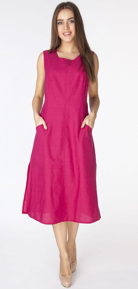 Платье Vis-A-Vis, цвет: фуксия. D3201. Размер L (48)D3201Длинное платье полуприлегающего силуэта из ткани со льном. Модель с круглым вырезом горловины, без рукавов и фигурными рельефами и прорезными карманами на полочке.