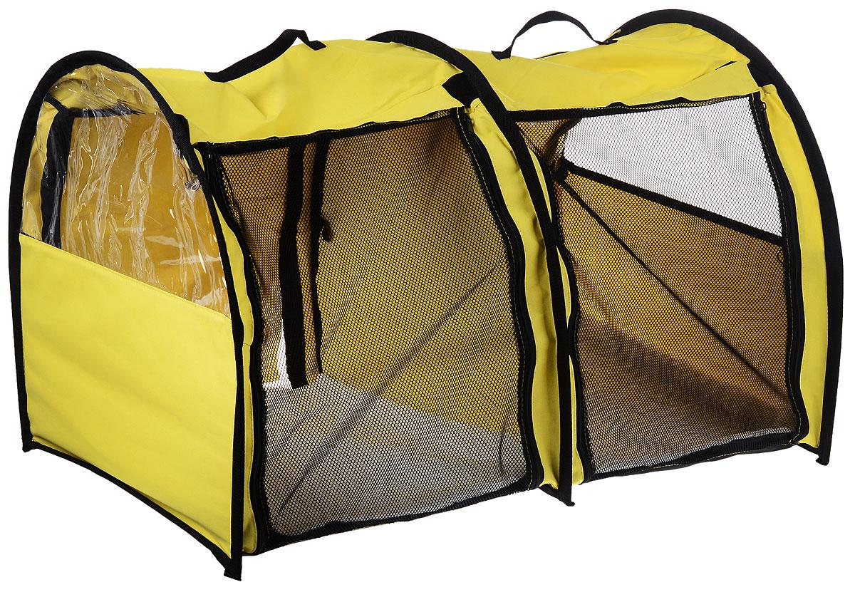 Клетка выставочная Elite Valley, двойная, цвет: желтый, черный, 103 х 60 х 60 смК-7_желтыйКлетка Elite Valley предназначена для показа кошек и собак на выставках. Она выполнена из плотного текстиля, каркас - металлический. Клетка оснащена съемными пленкой и сеткой. Внутри имеется мягкая подстилка, выполненная из искусственного меха. Прозрачную пленку можно прикрыть шторкой. Сверху расположены ручки для переноски.В комплекте сумка-чехол для удобной транспортировки.