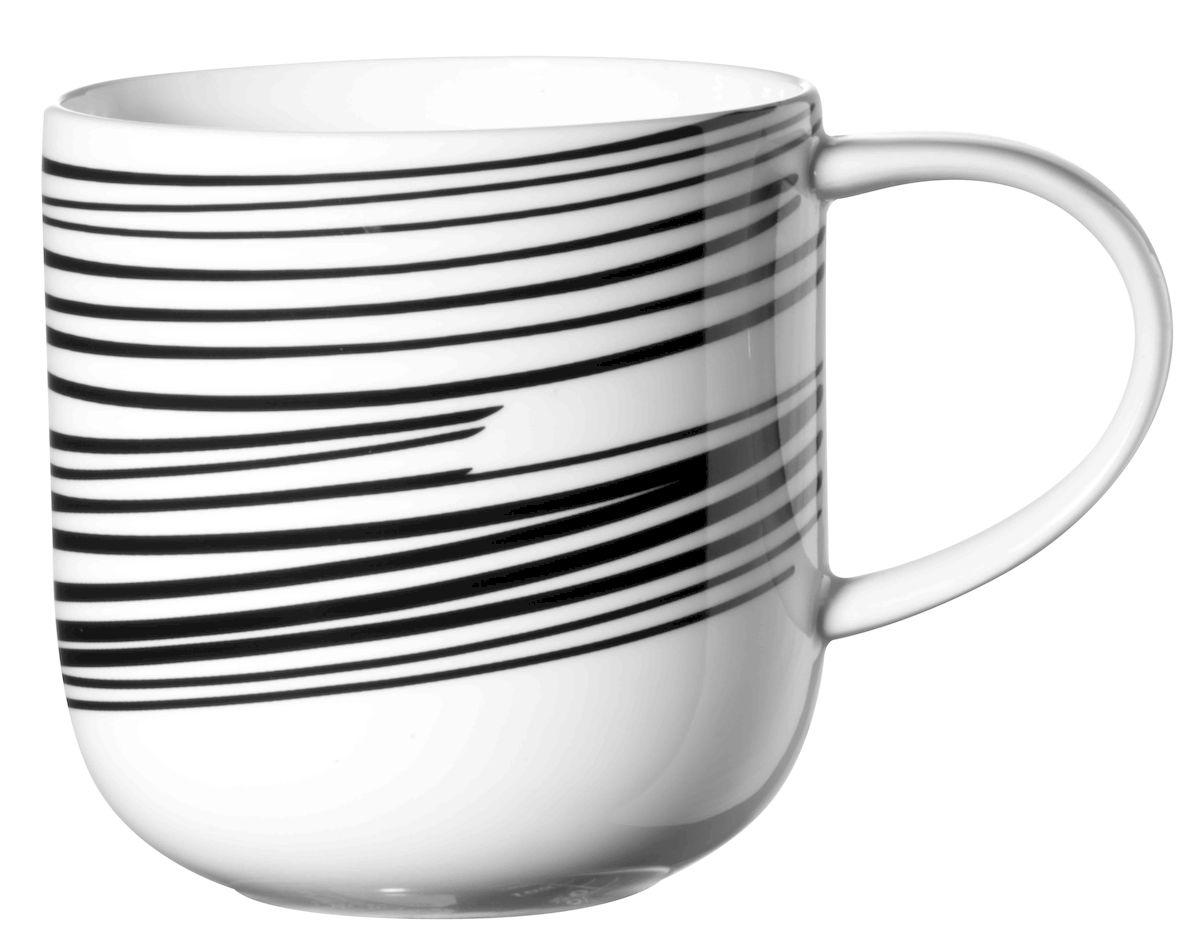 Кружка Asa Selection Coppa. Полоски, цвет: черный, белый, 400 мл. 19105/014 тарелка десертная asa selection a table диаметр 8 5 см