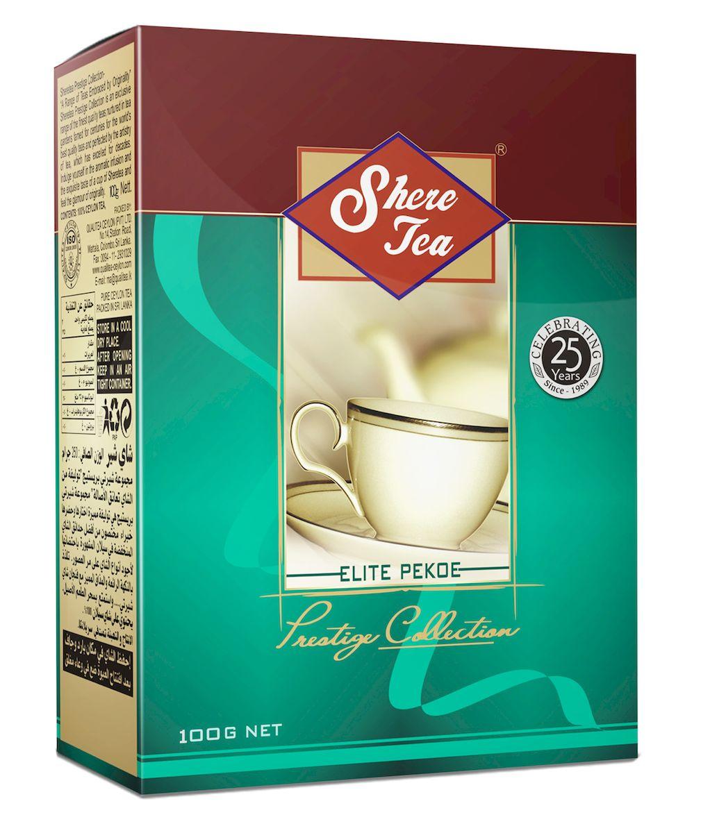 Shere Tea Престижная коллекция. PEKOE чай черный листовой, 100 г4791014000310Shere Tea Prestige Collection - это эксклюзивные сорта лучшего 100% цейлонского чая, выращенного в гористой местности на золотых плантациях, знаменитых более столетия. Вы получите наслаждение от аромата и особенного вкуса в каждой чашке чая Шери и прикоснетесь к очарованию его новизны.Чай Шери Престижная коллекция изготовлен из крупного листа стандарта РЕКОЕ. Этот чай состоит из более коротких и более взрослых, чем OP листьев. В сбор идут, как правило, вторые от почки листья. Поэтому в этом чае меньше содержание кофеина, чем в ОР, но зато он имеет более выраженную горчинку во вкусе, что нравится многим любителям чая. Чем более взрослый лист, тем в нем больше танина и дубильных веществ, которые и дают эту самую горчинку. Чай имеет яркий, прозрачный, интенсивный, настой. Аромат чая полный, приятный, выражен достаточно ярко.