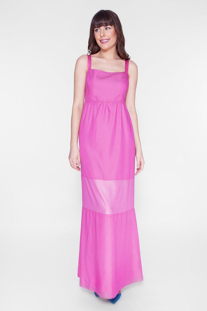 Платье Vis-A-Vis, цвет: розовый. D15-532. Размер M (46)D15-532Макси-платье без рукавов выполнено из качественного материала. В качестве бретелей - широкая стильная резинка.