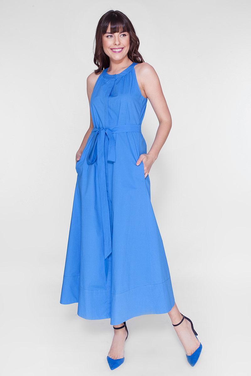 Платье Vis-A-Vis, цвет: голубой. D15-446. Размер L (48)D15-446Элегантное длинное платье из хлопка с американской проймой и поясом. Платье с карманами в боковых швах и застёжкой на пуговицы.
