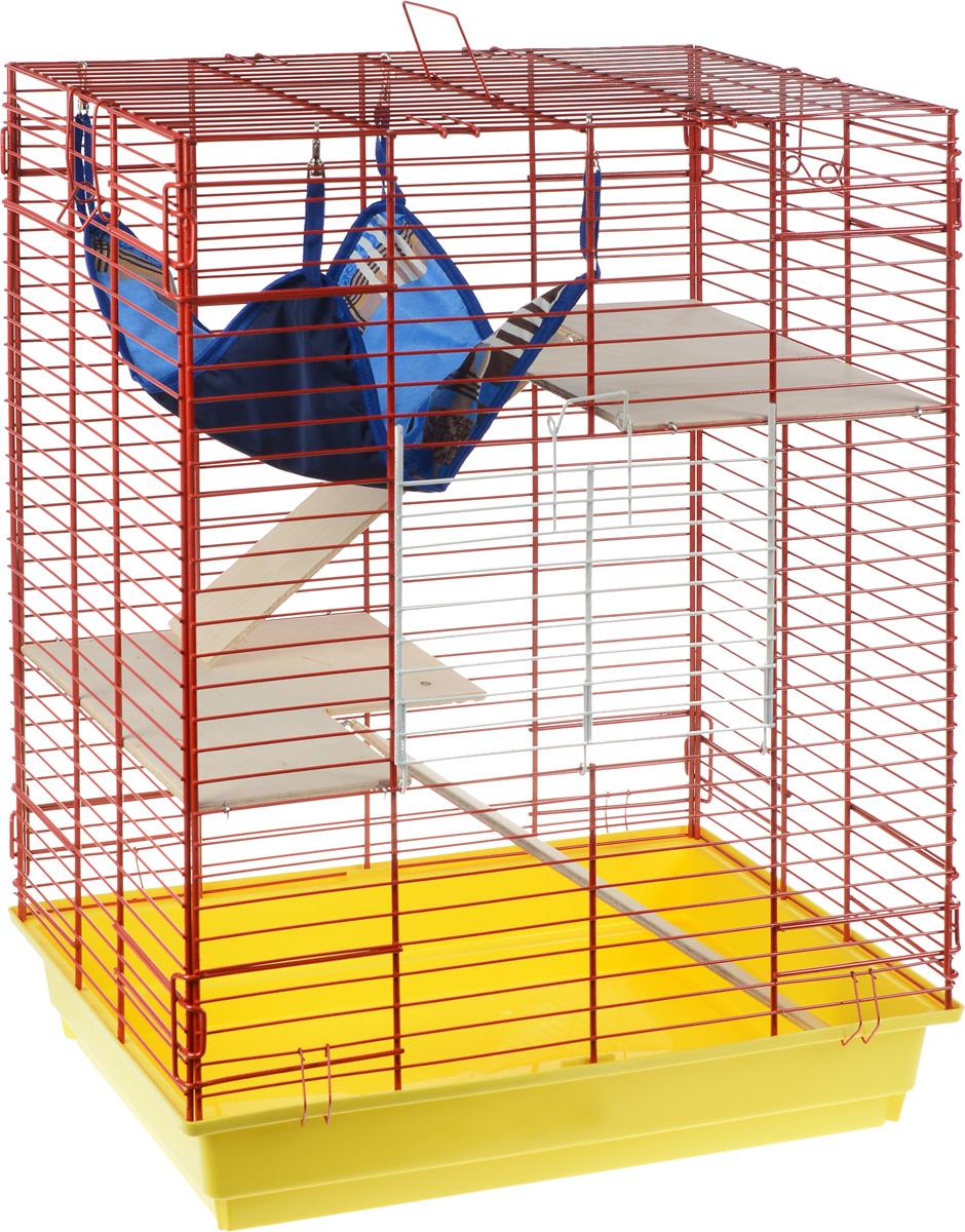 Клетка для шиншилл и хорьков ЗооМарк, цвет: желтый поддон, красная решетка, 59 х 41 х 79 см. 725дк725дк_желтый, красныйКлетка ЗооМарк, выполненная из полипропилена и металла, подходит для шиншилл и хорьков. Большая клетка оборудована длинными лестницами и гамаком. Изделие имеет яркий поддон, удобно в использовании и легко чистится. Сверху имеется ручка для переноски. Такая клетка станет уединенным личным пространством и уютным домиком для грызуна.