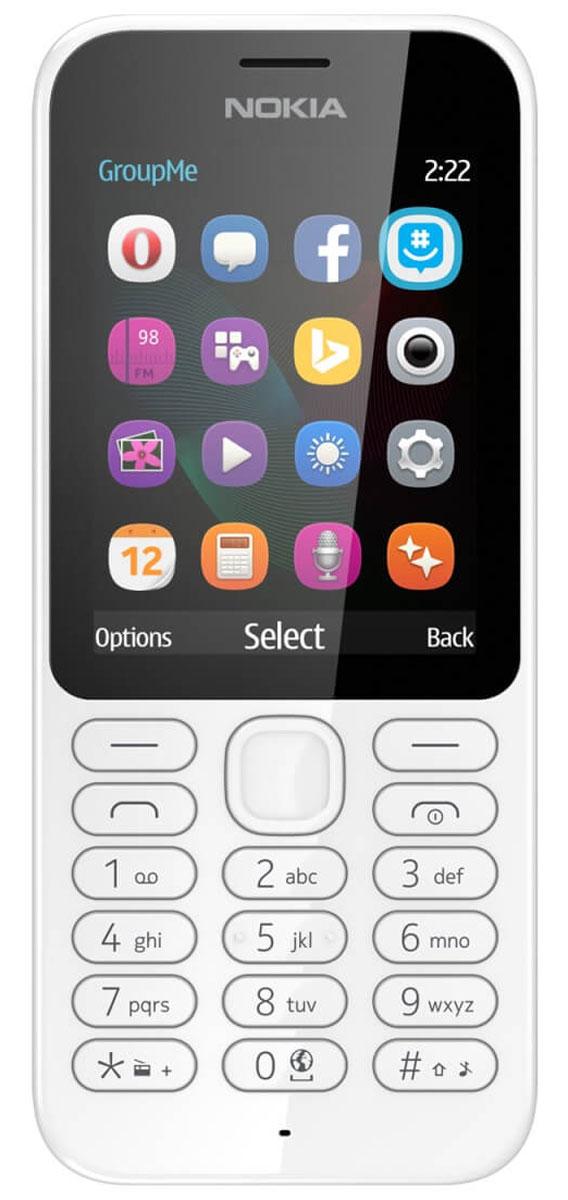 Nokia 222 DS, WhiteNokia 222 DS WhiteРаботайте в Интернете, говорите и обменивайтесь сообщениями с помощью надежного мобильного телефона с камерой Nokia 222 DS.Фотографируйте с помощью Nokia 222 все, что происходит вокруг. Задняя камера 2 Мпикс позволяет делать отличные снимки. Используйте Facebook или GroupMe by Skype для обмена фотографиями с друзьями и близкими.Находите нужную информацию, с помощью браузера Opera Mini, приложения MSN Погода и поисковой системы Bing. Общайтесь с друзьями и узнавайте новости с помощью Facebook, Twitter и Messenger.Каждый месяц на протяжении года вы можете бесплатно загрузить одну игру Gameloft. Такие игры, как Asphalt 6, Real Football, The Amazing Spiderman и Modern Combat 2, предлагаются с пробной лицензией. Проводите свободное время весело с играми на вашем телефоне.Вам понравится черная или белая глянцевая отделка. Клавиатура соответствующего цвета дополняет классический дизайн, придавая телефону совершенный вид.Благодаря поддержке двух сим-карт вы можете экономить на телефонных звонках, сообщениях и загрузке данных. Nokia 222 позволяет выбирать оптимального оператора во время путешествий и использовать разные сим-карты для личных и рабочих нужд.Телефон сертифицирован EAC и имеет русифицированную клавиатуру, меню и Руководство пользователя.