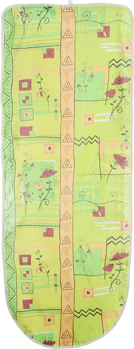 Чехол для гладильной доски Eva, цвет: салатовый, оранжевый, 125 х 47 см. Е13 чехол для гладильной доски eva цвет серебристый 125 х 47 см