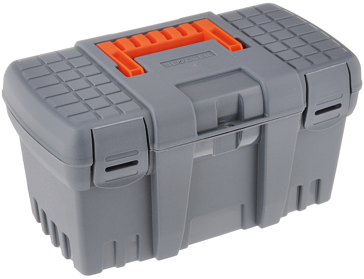 Ящик для инструментов Blocker Techniker, цвет: серый, оранжевый, 26,5 х 15,5 х 14 смBR3746СР-16PSЯщик для инструментов Blocker Techniker изготовлен из прочного полипропилена (пластика). Отлично подходит для хранения и транспортировки инструментов и принадлежностей к ним. Закрывается при помощи крепких защелок, которые не допускают случайного открывания. Каждый элемент имеет ресурс 10000 изгибов, что позволяет интенсивно эксплуатировать продукт несколько лет. Для более комфортного переноса в руках на крышке ящика предусмотрена удобная ручка.