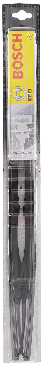 Щетки стеклоочистителя Bosch Eco 550C, каркасная, 550 мм, 2 шт3397005032Щетка стеклоочистителя Bosch Eco 550C -функциональный стеклоочиститель с металлическимискобами, который характеризуется хорошейэффективностью очистки и качеством. Каркас щеткивыполнен из металла с антикоррозийным покрытием иимеет форму, способствующую уменьшению подъемнойсилы на высоких скоростях. Натуральная резина щетки сграфитовым напылением обеспечивает тщательностьочистки. Щетка имеет крепление крючок. Быстрыймонтаж, благодаря предварительно установленномууниверсальному адаптеру Quick Clip.Длина щетки: 70 см.