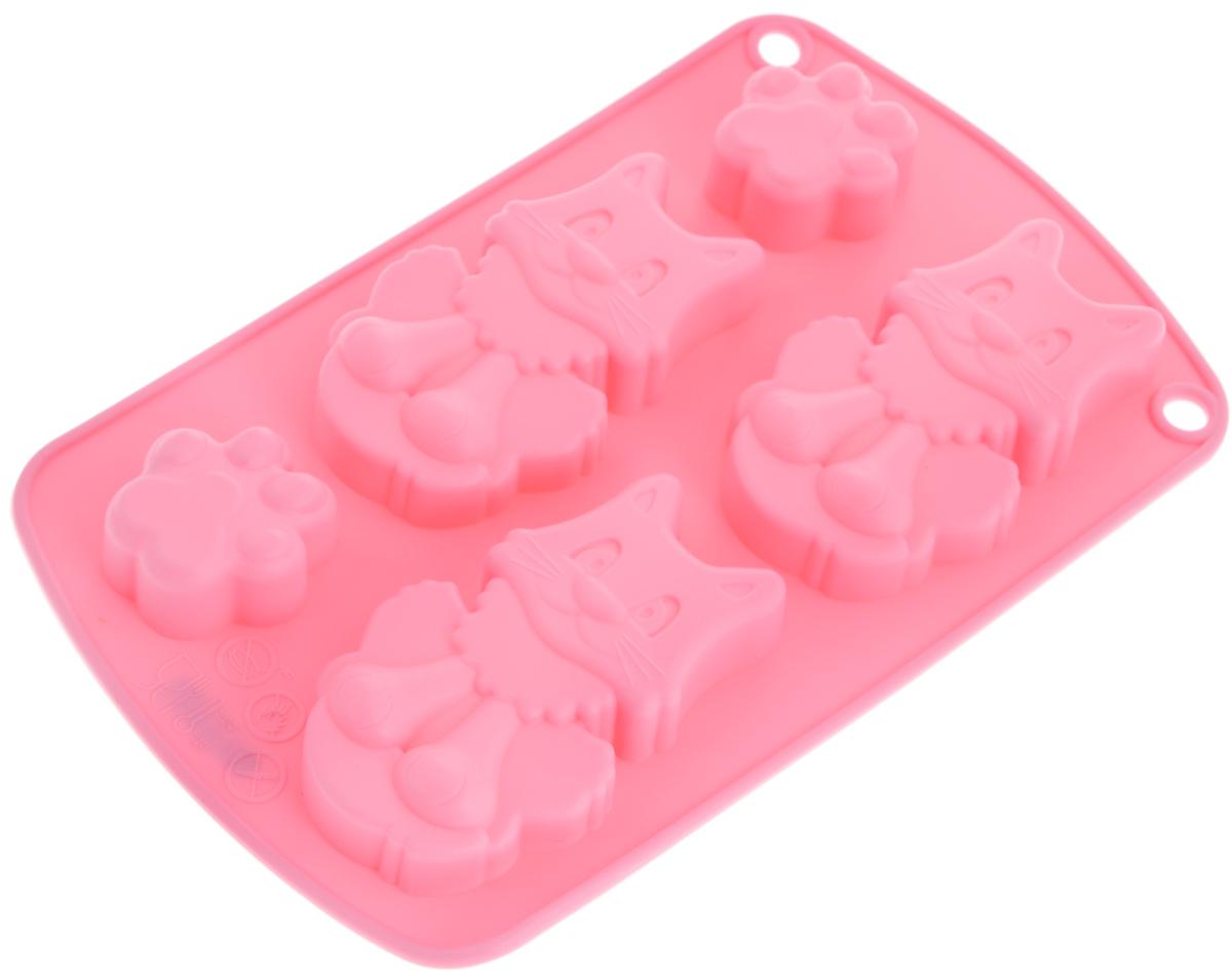 Форма для выпечки и заморозки Regent Inox Котята, цвет: розовый, 5 ячеек93-SI-FO-66Форма Regent Inox Котята, выполненная из силикона, будет отличным выбором для всехлюбителей домашней выпечки, а также хорошо подойдет для заморозки продуктов и изготовления конфет. Форма имеет 5 ячеек: 2 ячейки в виде лапок кота и 3 ячейки в виде кота.Материал устойчив к фруктовым кислотам, может быть использован в духовках имикроволновых печах (выдерживает температуру от -40°С до 230°С). Порадуйте себя и своих близких качественным и функциональным подарком.Можно мыть в посудомоечной машине. Размер ячейки с котом: 4,5 х 8 х 2 см. Размер ячейки с лапкой: 3 х 4 х 2 см.
